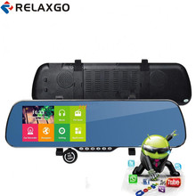 "Relaxgo 5""Android rearview mirror car camera gps navigation wifi car video recorder dual lens 1080P vehicle dvr parking dash cam(China)"