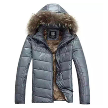 Free shipping 2017 new arrival man's winter jacket male solid warm thick white duck down jacket with fur hood Size M-2XL(China)