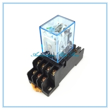 1Pc MY4NJ DC12V 24V AC110V 220V Electronic Micro Mini Electromagnetic Relay 5A 14PIN Coil 4DPDT With PYF14A Socket Base