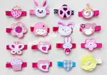 500pcs Random style carters cartoon Felt Hair bows Clips  Girl fancy work rabbit/monkeys/Lollipop Hair Accessory FJ3235