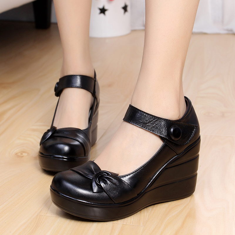 2017 spring autumn genuine leather womens fashion high heels pumps wedges black color female platform shoes <br><br>Aliexpress