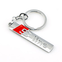 Red S line Car Styling Car 3D Sports Emblem Metal Holder Case For Audi Q5 Q7 S3 S6 RS4 A3 A4 Chaveiro llavero Auto Car-Styling