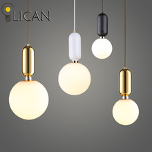 LICAN Creative Nordic Parachilna ABALLS Led Pendant Light Plate Metal Milky Frosted Glass Shades Suspension Lamp For Dining Room(China)