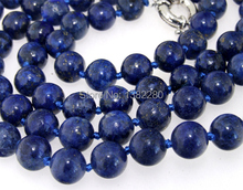 Fashion New ! Style diy 10mm Round lapis chalcedony Beads Necklace 36 inches JT6206 dallas cowboys jersey(China)