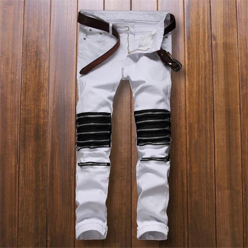 New Fashion Mens Biker Denim Jeans Multi Zipper Moto Jeans Pants Casual White Jean Trousers For Man Q2156Одежда и ак�е��уары<br><br><br>Aliexpress