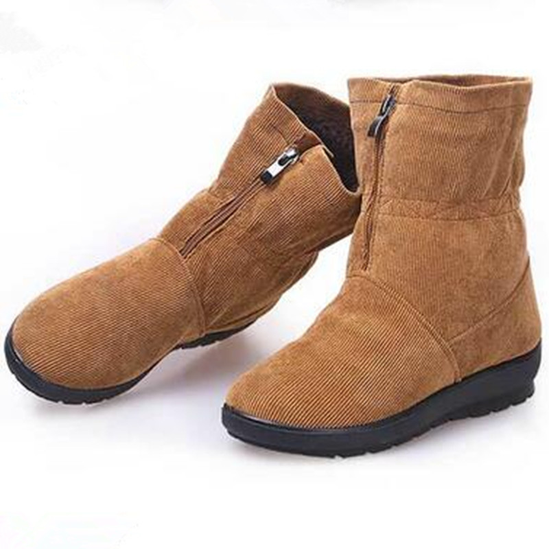Pure Color Casual Warm Shoes 2016 New Women Winter Plus Velvet Short Tube Non-slip Warm Now Boots Hombre Shoes Women Plus 40-42<br><br>Aliexpress
