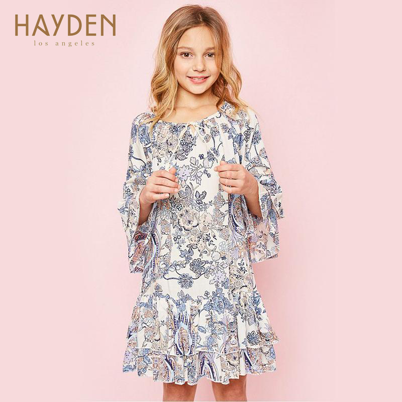 Brand childrens clothing 2017 autumn new flowers printed dress in the big sweet long-sleeved dress<br>