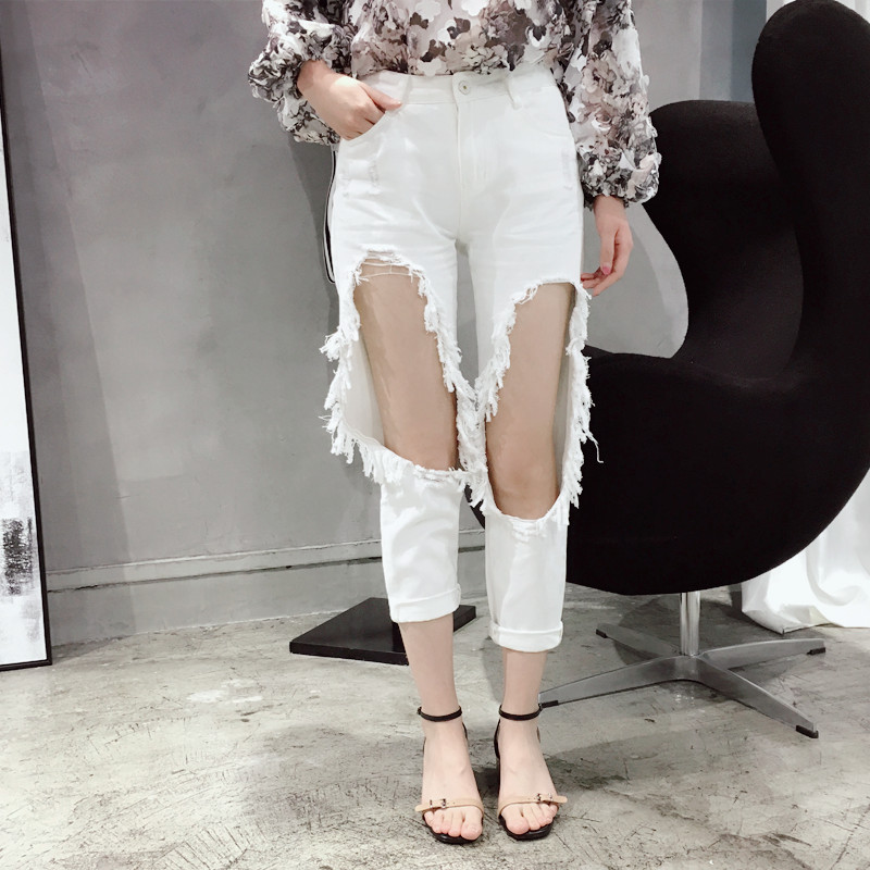 [CHICEVER] 2017 Spring Pant Loose Big Hole Ripped Wild Harlem Pants Women Jean New Fashion Trousers Одежда и ак�е��уары<br><br><br>Aliexpress
