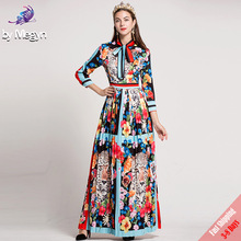 2017 New Autumn Runway Designer Maxi Dress Women High Quality Bow Collar Flower Animal Printed Party Long Pleated Dress Free DHL(China)