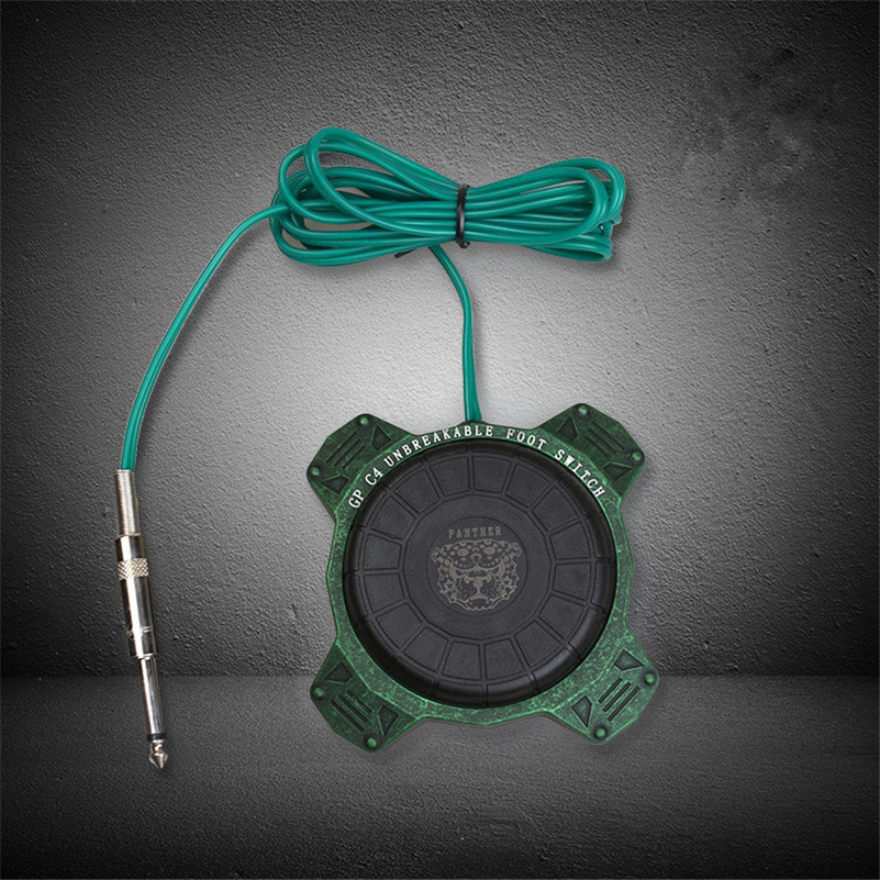Pro 1pcs GP C4 Green Color Round 360 degree Tattoo Foot Pedal Switch With RCA Clipcord For Tattoo Power Supply Equipment<br>