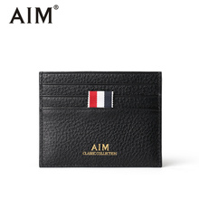 AIM 2017 NEW Men's Genuine Leather Slim Card Holder Wallet Male Credit Card Case Men Mini Coin Pocket Ribbon Design Purse Q211(China)