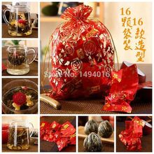 Free shipping 16 particles per bag  Chinese Blooming Flower Tea with Gift Bags For 6 kinds of different flavors helthy drinking