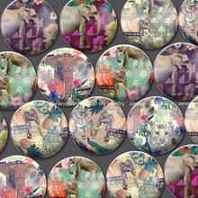 ZEROUP round glass cabochon Elephant pictures mixed pattern fit cameo base setting for flat back jewelry 20pcs/lot BCH414
