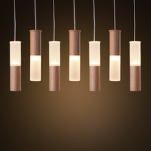 Modern Column Dia4.5cm wood tube Led Pendant Lamps Fixtures wood+acrylic shell  Hanging Lamp