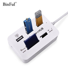 BinFul Micro USB Hub Combo 2.0 3 Ports Card Reader High Speed Multi USB Splitter All In One for PC Computer Accessories Notebook