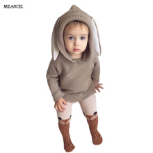 2018 Spring Baby Boys Sweaters 3D Rabbit Cotton Pullover Kids Girls Knitted Sweater Bunny Jumpers Girls Boys Cardigan Wholesale(China)