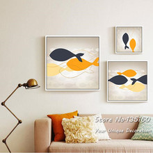 Abstract Painting Fish Canvas Art Happy Swimming Fishes Bedroom Decor Minimalist Warm Decoration Wall Pictures Boards No Frame