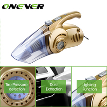 Onever 4 in 1 Multi-function Wet/Dry Car Vacuum Cleaner 12V 120W Tire Inflator Tire Pressure LED Light Tire inflatable Pump