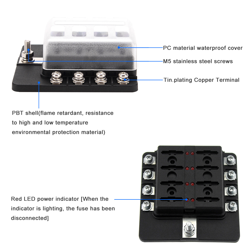 Detail Feedback Questions About 12v 24v 8 Way Blade Fuse Box Holder M5 1 10 Fuses Connecting Terminal 4 Screws Decal