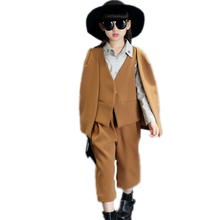 girls boutique clothing 2017 new fashion children clothing top single button cloak vest+middle pants 2pcs toddler girl clothing
