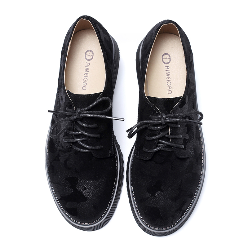IM4_70561AIMEIGAO Spring Autumn Lace-up Flat Platform Shoes Thick Bottom Women Casual Shoes British Style Women Brogue Shoes