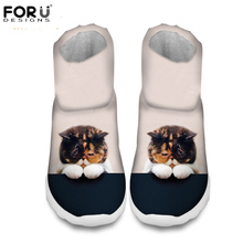 FORUDESIGNS Women's Fashion Winter Snow Boots Cute 3D Animal Cat Dog Prints Warm Ankle Boots for Women Platform Female Rain Boot