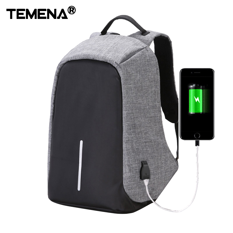 Temena Canvas Men Backpack Anti Theft With Usb Charger Laptop Business Unisex Knapsack Shoulder Waterproof Women Travel Bag<br>