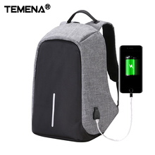 Temena Canvas Men Backpack Anti Theft With Usb Charger Laptop Business Unisex Knapsack Shoulder Waterproof Women Travel Bag(China)
