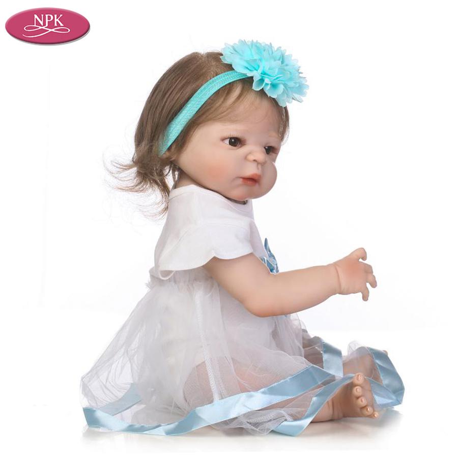NPK 57CM Full SIlicone Vinyl Body Reborn Babies Children Bathe Doll Toys Lifelike Real Baby Girl Realista Bebe Reborn Bonecas (7)