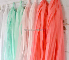 20PCS Mixed Mint Coral Pink White Tissue Paper Tassel Wedding Christmas Bunting Banner Garland Birthday Party Hanging Decoration