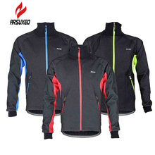 ARSUXEO 2017 Thermal Cycling Jacket Winter Warm Up Fleece Bicycle Clothing Windproof Waterproof Sports Coat MTB Bike Jersey