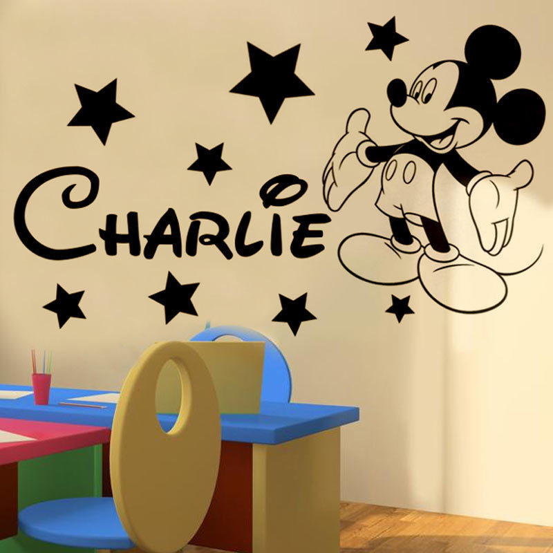 Custom Names Dacals Mickey mickey Mouse Personalised name boys bedroom wall sticker kit decal decor(China (Mainland))