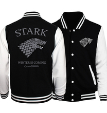 2017 Autumn Game of Thrones House Stark Printed Men Jacket Baseball Uniform Jacket Male Fire & Blood Plus Size Men Coat Hoodie