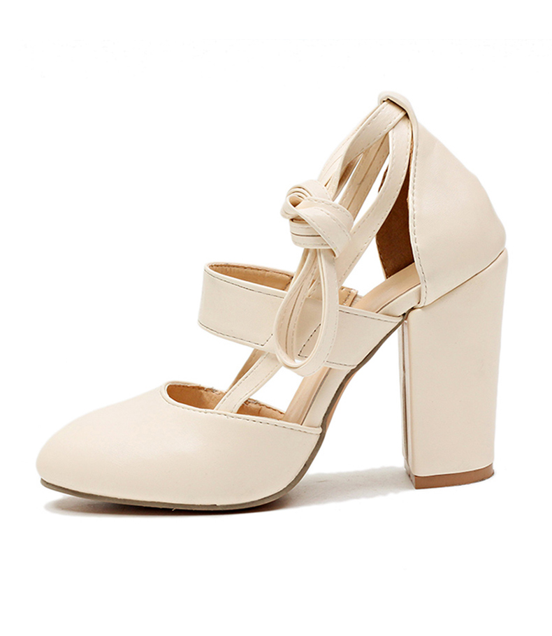 Women Pumps Comfortable Thick Heels Women Shoes Brand High Heels Ankle Strap Women Gladiator Heeled Sandals 8.5CM Wedding Shoes 21