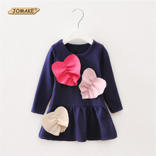 Fashion Patchwork Love Heart Children Long Sleeve Dress Spring New Designed Toddlers Casual Clothing Kids Long T-Shirt Dress