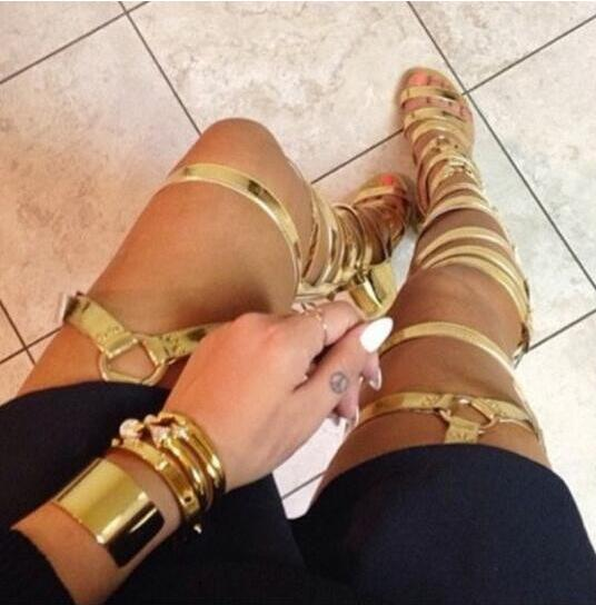 Summer Fashion Solid Black Golden Ladies Flat Boots Cut Out Women Gladiator Sandal Boots Over Knee Buckles Cool Leather Shoes
