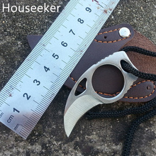 Houseeker Mini Pocket With Pu Leather Sheath Cutter Portable Claw Knife Tool Outdoor Camp Gadget Survival Pocket Knife Opener