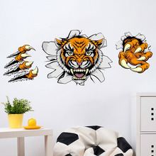 3D Angry Tiger Claws Wall Sticker Home Decor Living Room Kids Bedroom Wall Art Decal Poster PVC Stickers E2S(China)