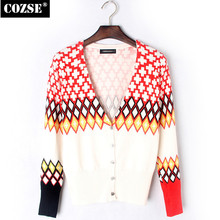 2015 New Autumn Women Cardigans Casual Style V-neck Cross Print Knit Sunscreen Cardigans Sweater Women Clothing D8236(China)