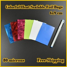 200 pcs 6x9 cm (2.4''x3.5'') Free Shipping,Colorful Heat Seal Smell Proof Foil Bags Foil Pouches Food Storage
