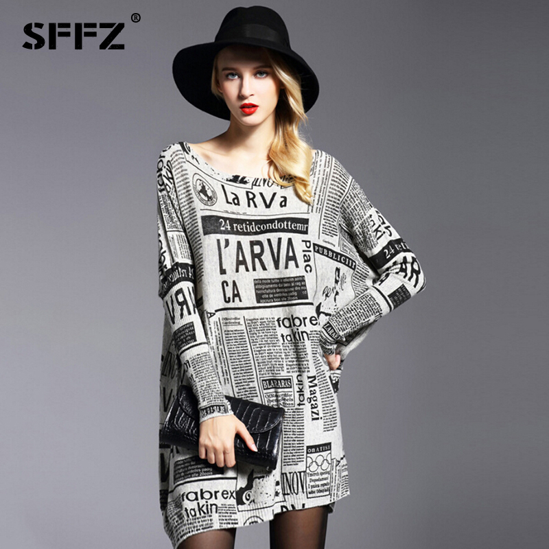 SFFZ New Women Long Sweater Fashion Newspaper Print Loose Dresses Wool Blend Knitted Pullovers Oversized Slash Neck Sweater 6013