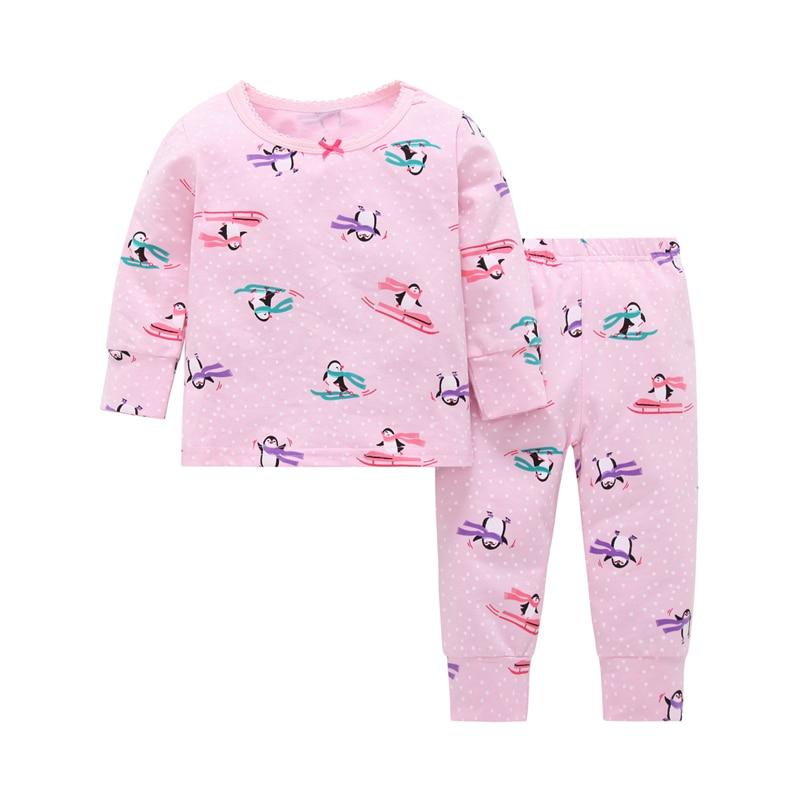 cute cartoon penguin print baby girl sleep wear clothes set 2 PCS new born baby home wear suit cotton long sleeve T-shirt+pant