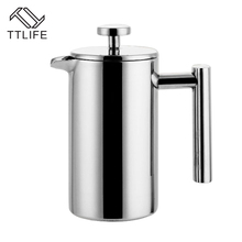 TTLIFE 800MLStainless Steel French Press Coffee Tea Pot with Filter Double Wall Insulation Delicate Coffee Maker Top Quality(China)