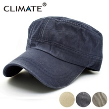 CLIMATE 2017 New Spring Simple Solid Heavy Washed Denim Cotton Flat Top Caps Hat Men Women Adjustable Hunting Army Caps Hat(China)