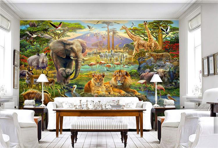 HTB1zcdASVXXXXc2XVXXq6xXFXXXl - Custom Mural Wallpaper 3D Children Cartoon Animal World Forest Photo Wall Painting Fresco Kids Bedroom Living Room Wallpaper 3 D