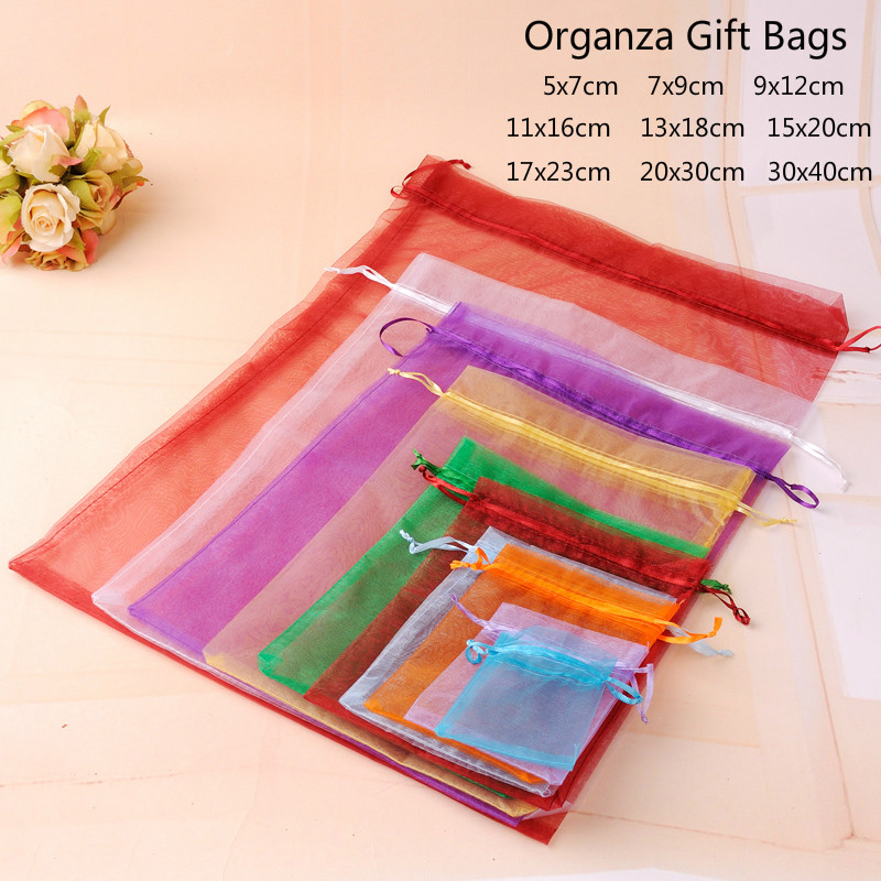 Gift-Bag Pouches Jewelry Favors Wedding-Party-Decoration Organza Baby Shower 10pcs Drawable title=