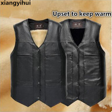High quality Brand Large Size Black Leather Vest Men Fleece Lined Warm Jackets Sleeveless Coat Winter Leather Vest Cheap Gilet(China)
