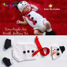 Crochet Snowman Hat&Romper Set Knitted Newborn Snowman Costume Infant Baby Halloween Costume Knitted Photo Props MZS-16011(China)