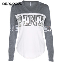 Buy Realpopu Patchwork Sequined Letter T Shirt Long Sleeve Fashion Basic Tee shirt V Neck Fitness Casual Tops Autumn Winter White for $10.57 in AliExpress store