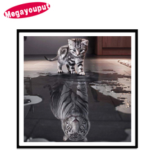 Megayouput 5d diy diamond painting cross stitch kits Diamond embroidery animal cat tiger picture diamond mosaic pattern gift
